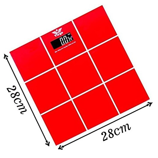 Digital 6mm Glass Bathroom Weighing Scale Red 180kg